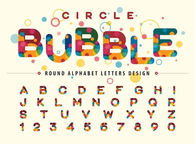 Cercles colorés abstraits à l'intérieur des lettres et des chiffres de l'alphabet