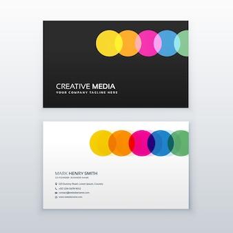 Cercles colorés créatifs conception de carte de visite propre