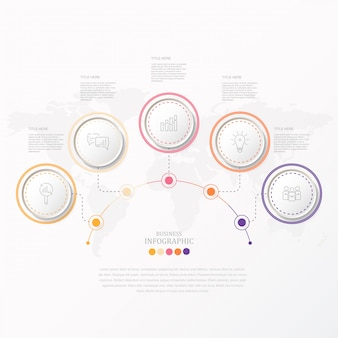 Cercles colorés infographie et icônes de l'entreprise actuelle.