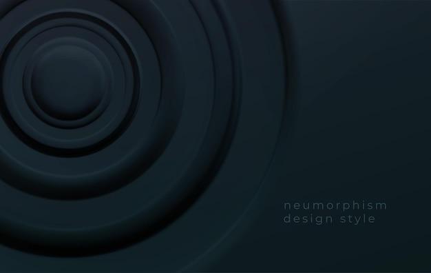 Cercles concentriques volumétriques noirs