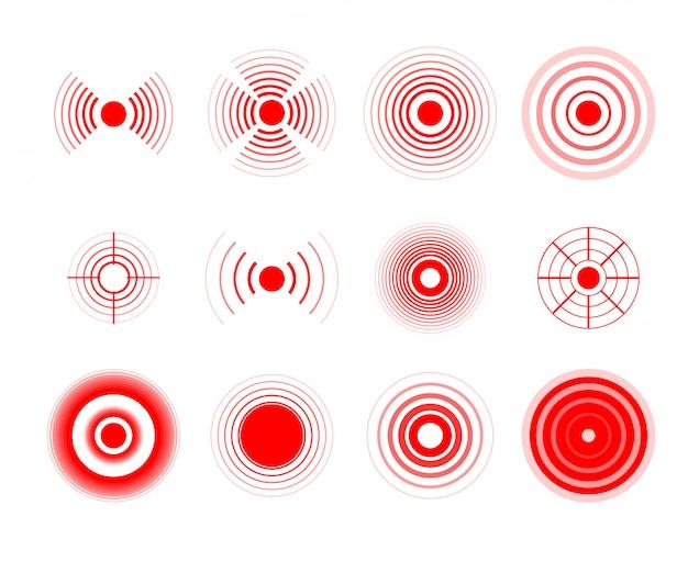 Cercles de douleur. tache cible douloureuse rouge, ciblant le cercle de remède médicamenteux et les taches de douleur articulaire.