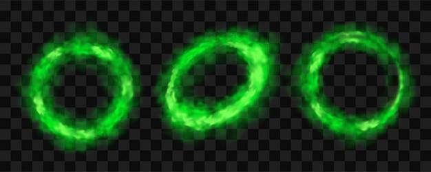 Cercles de fumée verte, ensemble de nuages de smog lueur ronde