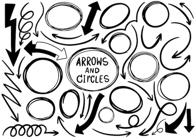 Cercles de gribouillis dessinés à la main