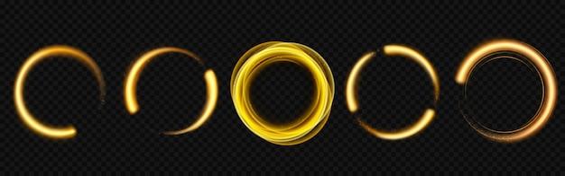 Cercles de lumière dorés avec des étincelles