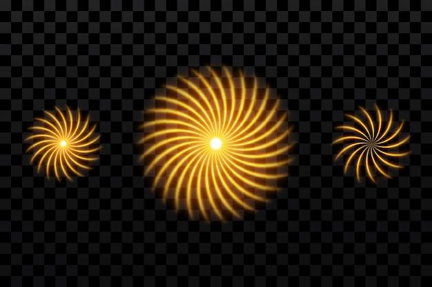 Cercles lumineux dorés étoiles du soleil particule pour la conception