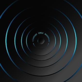 Cercles lumineux néon bleu abstrait