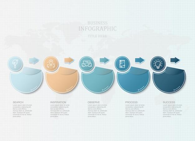 Cercles modernes infographies et icônes pour présentation d'affaires