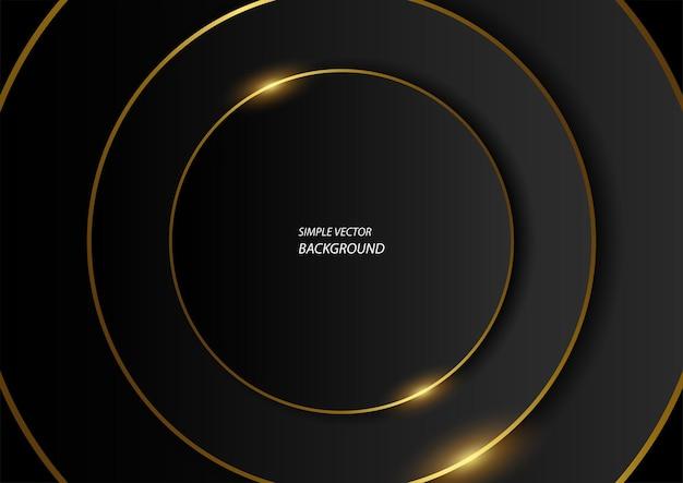 Cercles noirs avec des lignes dorées, arrière-plan vectoriel luxueux simple et moderne en eps10