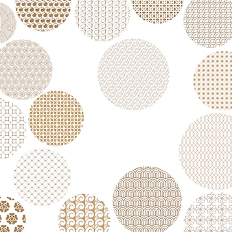 Cercles d'or avec différents motifs géométriques
