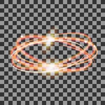 Cercles d'or rougeoyant, traces d'ellipse de feu avec des étincelles, effet de lumière de paillettes magiques sur fond transparent, sentier de tourbillon de lumière, vagues brillantes,