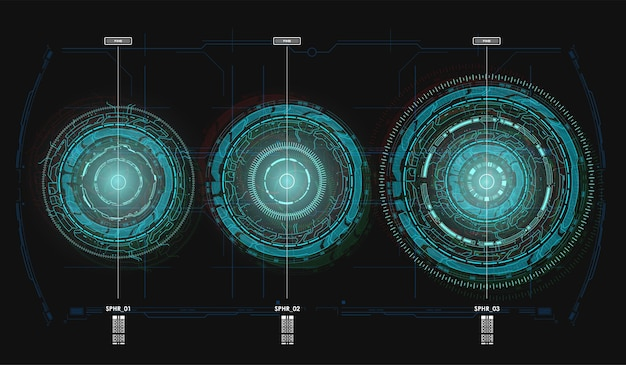 Cercles de rotation futuristes hud.