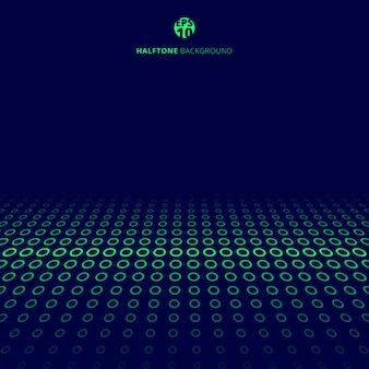 Cercles verts de technologie abstraite demi-teinte sur fond bleu