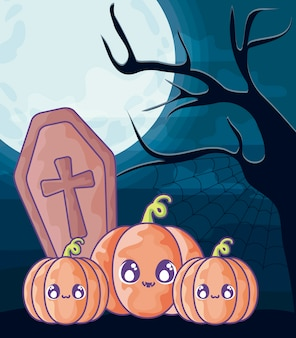 Cercueil en bois avec croix chrétienne sur scène d'halloween