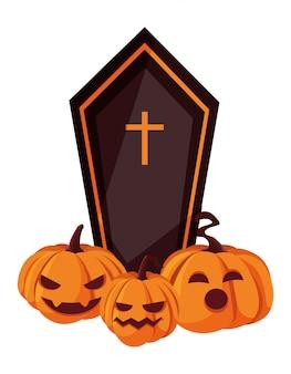 Cercueil citrouilles joyeux halloween célébration