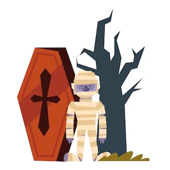 Cercueil de dessin animé de momie halloween et arbre nu heureux, vacances et illustration effrayante