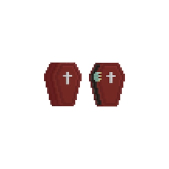 Cercueil pixel avec zombie hand.halloween