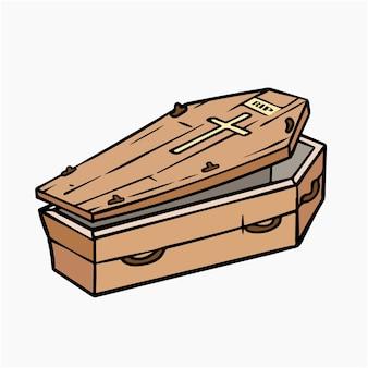 Cercueil, vecteur, illustration, dessin animé clipart