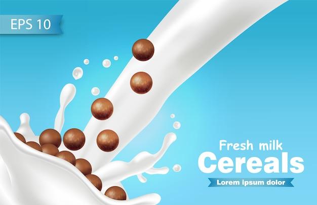 Céréales au chocolat réalistes dans des éclaboussures de lait