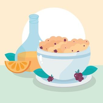 Céréales de jus d'orange petit déjeuner avec illustration de repas sains fruits