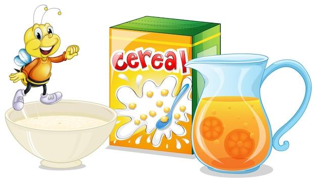 Céréales et jus d'orange pour le petit déjeuner