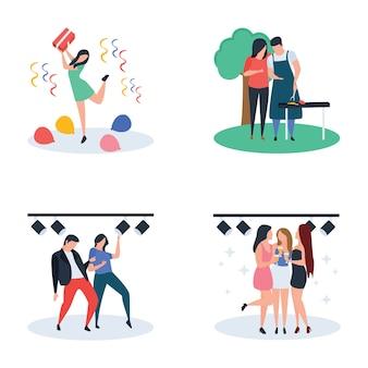 Cérémonie de mariage, célébration, fête, paquet de vecteur