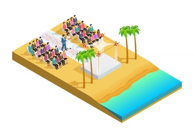 Cérémonie de mariage sur une composition isométrique au bord de la plage