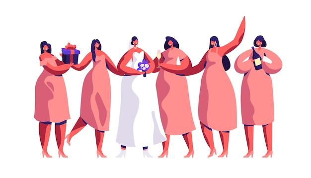 Cérémonie de mariage fiancée et demoiselle d'honneur célèbrent joyeusement. mariée porter traditionnelle belle robe blanche aile fille tenir bouteille de champagne et présent boîte plat cartoon vector illustration