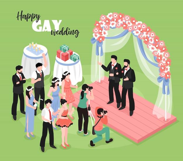 Cérémonie de mariage gay avec photographe professionnel et invités sur vert 3d isométrique