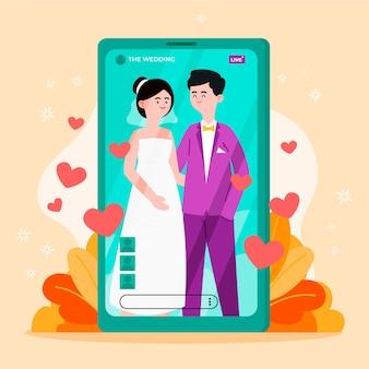 Cérémonie de mariage en ligne avec smartphone