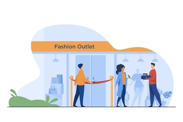 Cérémonie d'ouverture des magasins. homme coupant le ruban rouge, journaliste, illustration vectorielle plane caméraman. actualités de la mode, reportage, concept d'achat