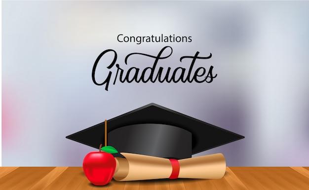 Cérémonie de remise des diplômes avec illustration graduation cap sur le plancher en bois