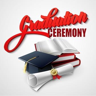 Cérémonie de remise des diplômes. livre, chapeau et certificat. illustration