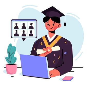 Cérémonie de remise des diplômes virtuelle avec un diplômé d'université