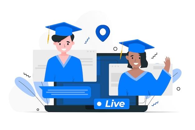 Cérémonie de remise des diplômes virtuelle avec les étudiants