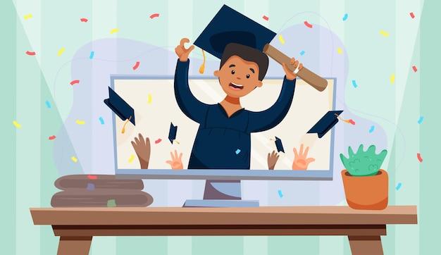 Cérémonie virtuelle de remise des diplômes. appel vidéo. diplôme de garçon noir en ligne.