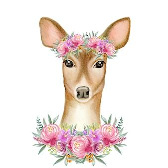 Cerf aquarelle avec fleur de couronne