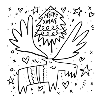 Cerf avec arbre de noël. style de griffonnage. dessin animé main dessiner à colorier. isolé sur fond blanc.