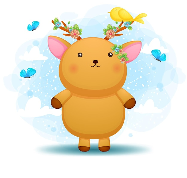 Cerf de bébé mignon doodle avec floral