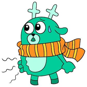 Un cerf beugle son estomac de faim lors du jeûne, art d'illustration vectorielle. doodle icône image kawaii.