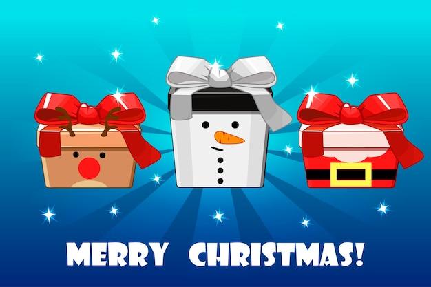 Cerf de bonhomme de neige de cadeaux différents de noël mignon et objet vectoriel d'emballage créatif du père noël