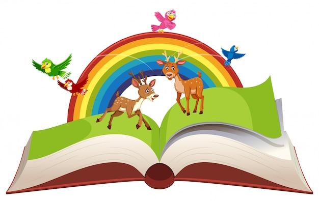 Cerf dans un livre ouvert