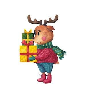 Un cerf dans un pull de noël porte des cadeaux. personnage animal du nouvel an