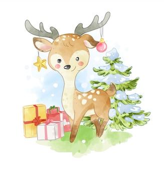 Cerf dessin animé avec illustration de cadeaux