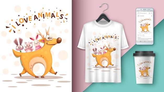 Cerf dessin animé, lapin, chat