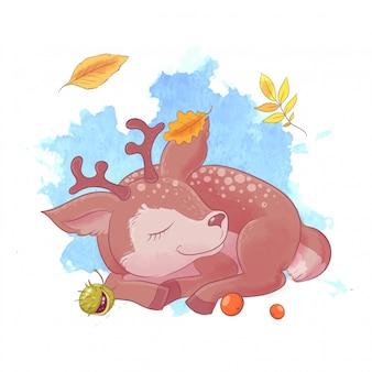 Cerf de dessin animé mignon, automne et feuilles.