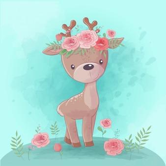 Cerf de dessin animé mignon avec une couronne de roses, vecteur aquarelle