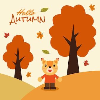 Cerf de dessin animé mignon dit bonjour illustration de carte de bannière d'automne vecteur premium
