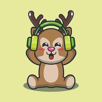 Cerf de dessin animé mignon écoutant de la musique avec un casque