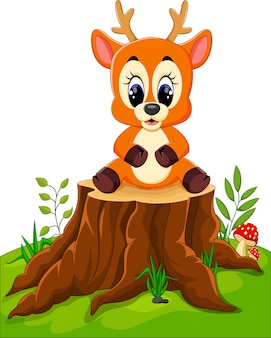 Cerf de dessin animé posant sur une souche d'arbre
