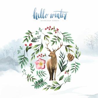 Cerf entouré de vecteur aquarelle bloom hiver